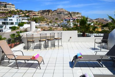 The rooftop terrace has its own bar and beautiful views of the Pedregal.