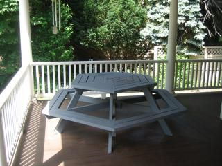 Picnic table on the front porch