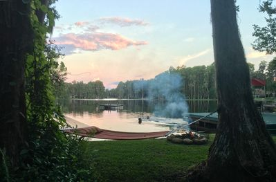 Hammock, fire pit, swimming, boating & fishing - all available for guests.
