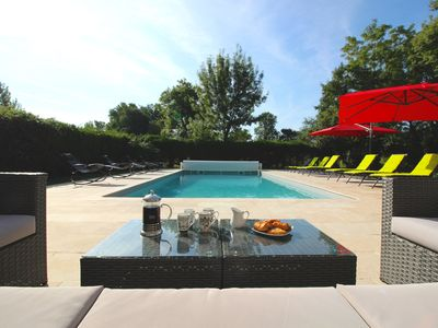 Photo for Luxury 4 Bed 4 Bath Air Conditioned Dordogne Village House with Heated Pool
