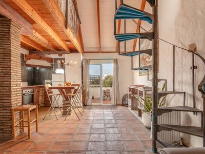 Photo for Rustic, sunny, high ceiling apartment in the center of old Tarifa.