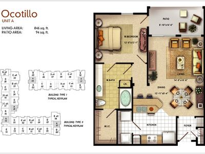 floorplan of apartment similary furnished as shown