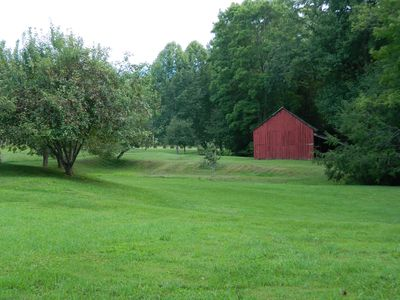 View of barn which is located behind house