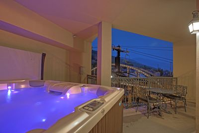 View from the private 8 person hot tub towards the ski bridge and PCMR