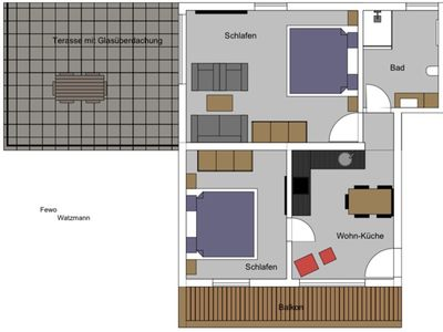 """Photo for Apartment """"Watzmann"""", 1-4 people, approx. 85 m², 2 bedrooms, kitchen, balcony"""