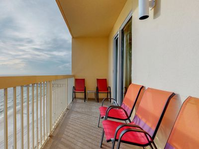 Photo for NEW LISTING! Beachfront condo w/pier view, resort pool, Pier Park across street