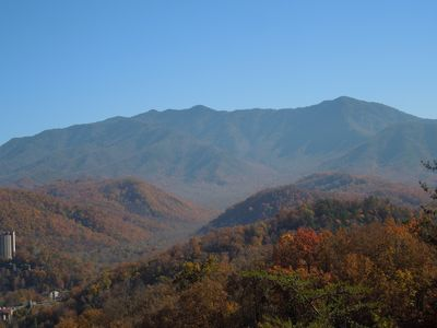 View of Mt LeConte from the deck of BearCub.