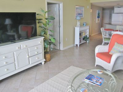 There is WIFI & a large HDTV.  The condo is spacious & family friendly!