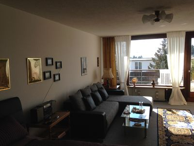 Photo for Calm, spacious, sunny apartment with view at the Alps