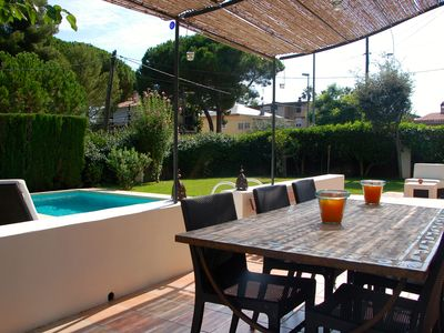 Photo for Private pool and garden, just steps from the beach, between Barcelona and Sitges