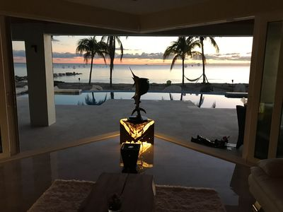 sailfish statue in the 'v' for the front living room