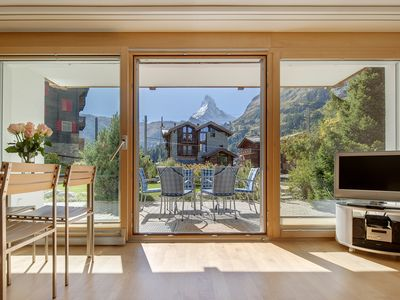 Photo for 4 star Haus Alpine apartment with spectacular views of the Matterhorn