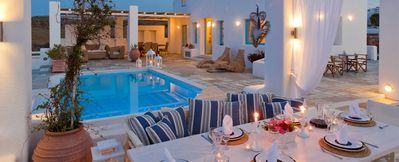 Photo for Lava House Santorini, 2 BEDROOMS 2 ENSUITE BATHROOMS, (4 TO 6 PERSONS), Private Pool, Jaccuzi Outdoor BBQ, Panoramic Position