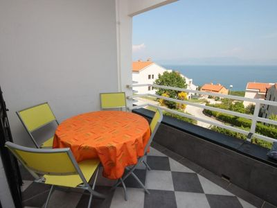 Photo for One bedroom apartment with terrace and sea view Ravni, Labin (A-7661-a)