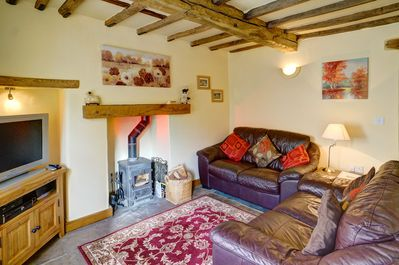 Relaxing lounge with log burner