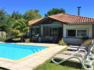 Photo for SPACIOUS VILLA 6 PEOPLE WITH HEATED SWIMMING POOL AND WIFI, GOLF AND BEACH WALK.