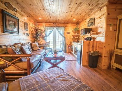 Photo for Unique motel room with cabin decor and king bed, living area and kitchenette
