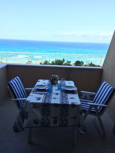 Photo for Tropea apartment with spectacular sea views, private beach access staircase