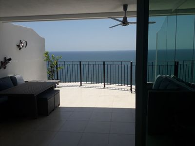 Amazing Ocean front view from living area and kitchen with huge patio space