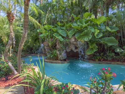 Photo for Tropical House with 80' boat dock and waterfall pool on New River