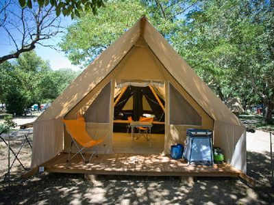 Photo for Camping Huttopia Oleron Les Pins *** - Tent Canvas & Wood Indigo 3 Rooms 5 People
