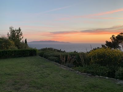 Spectacular sea views. Sunset overlooking Giglio island from the front garden.