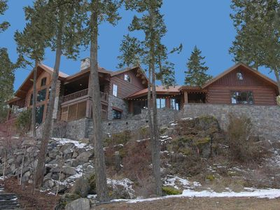 Photo for STUNNING STONE LAKEFRONT HOME AND GUEST HOUSE ON PRIVATE COVE
