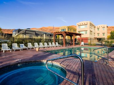Photo for Three-story upscale home w/ shared hot tub & pool - Moab Rim views, lots of room
