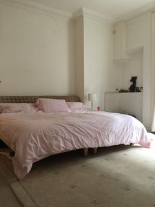 Super king size bed in very large double room with Juliette balcony
