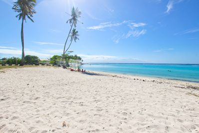 The bungalow is pictured straight ahead! Located on Moorea best beach!
