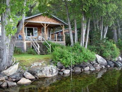 Photo for Secluded Rangeley Lakefront Home: Main House, 3 Cabins, Dock