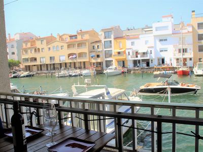 Photo for Canal views apartment for rent with sailboat mooring Empuriabrava L1102