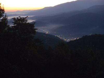Early morning view of Downtown Gatlinburg from the balcony.