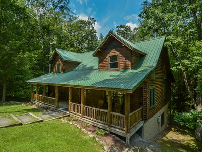 Photo for Warm & Cozy 4 Bedroom Log Home w/ elegant furnishings in private setting!