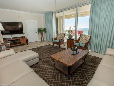 Photo for Oceania 407 Beautiful 3 BR right on the beach with 40' balcony