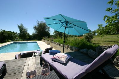 The pool is a rael sun trap During the Summergetting sunshine from 7am until 10p