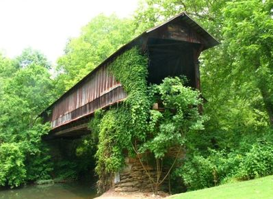 Historic Waldo Covered Bridge in the Front Yard.  photo by Beth Stewart