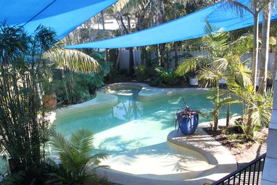 solar heated salt water pool, just a few metres from all of our rooms.