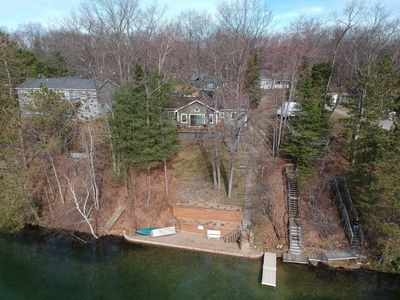 Aerial image of Little Bear Lake.House and beach,