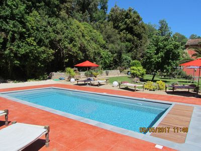 Photo for Charming stone house, swiming pool, beautiful garden, parking, wifi, 5 bedrooms