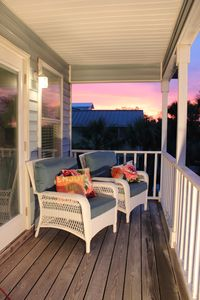 sunset on the second floor deck
