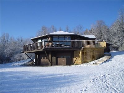 Winter house with hot tub extended deck