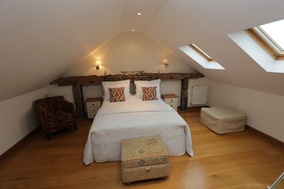Upstairs bedroom with king size bed.