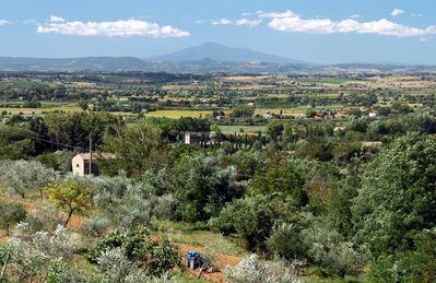 View from house across to Montepulciano and Monte Amiata in the distance