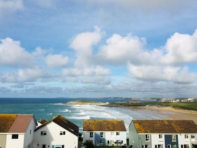Photo for Modern 2-bed apt with Fistral Beach views from every room, parking & elevator