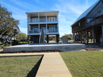 Photo for New 6BR Gulf Shores Waterfront, Heated,  Private Pool, Dock, short walk to Gulf