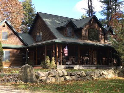 Photo for Large ADK home on private wooded lot, lake access, & 40 foot dock