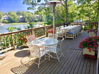 Over-sized deck with stunning views of Ockway Bay, and large KitchenAide grille.