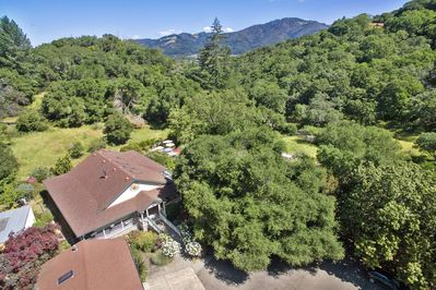 Aerial view of our hone, pool, and the surrounding woods - total privacy