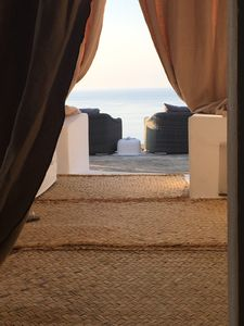 view of the terrace and ocean from the veranda and bathroom of the main Dammuso